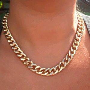 New 18k Gold Filled Curb Chain Link Bold Necklace
